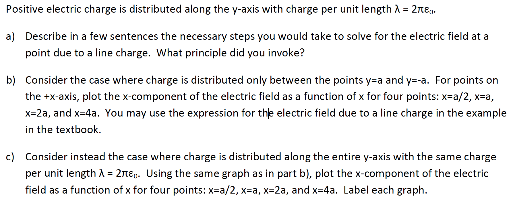 Solved positive electric charge is distributed along the image for positive electric charge is distributed along the y axis with charge per unit urtaz Choice Image