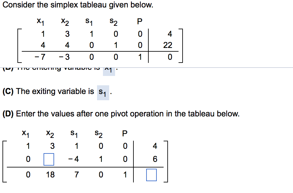 Solved: Consider The Simplex Tableau Given Below  (C) The