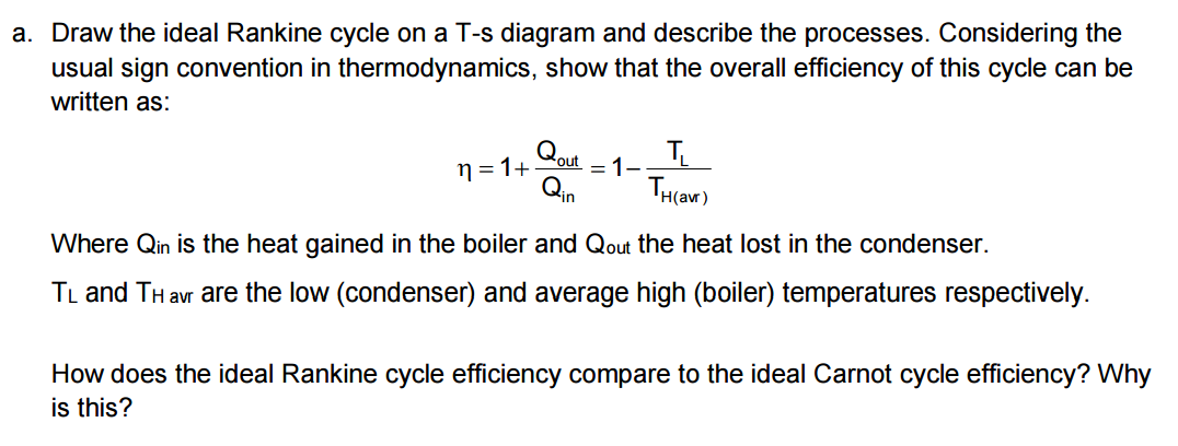 draw the ideal rankine cycle on a t-s diagram and describe the