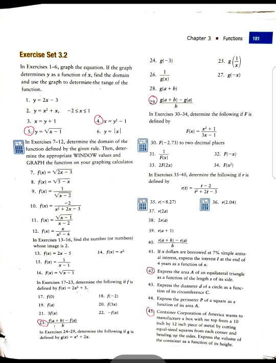 Solved: Chapter 3 Functions 181 Exercise Set 3 2 4 24  Gl