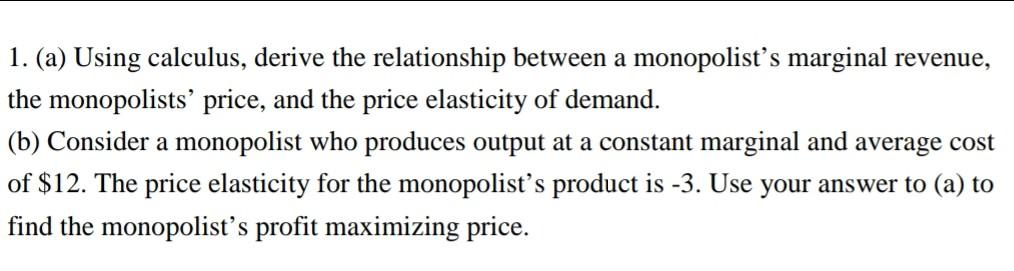 derive the relationship between marginal revenue and elasticity