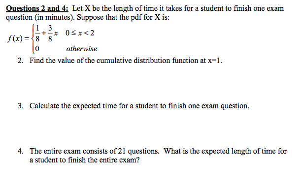 Solved: Questions 2 And 4: Let X Be The Length Of Time It