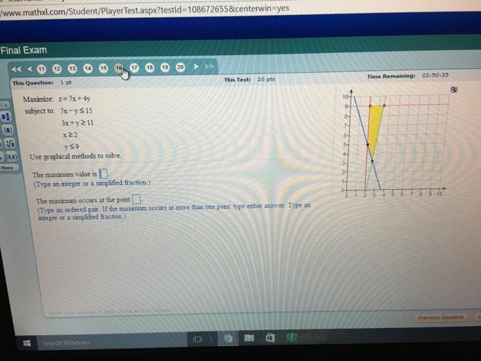 Solved: Www maths com/Student/playerTest aspx?test Id-1086