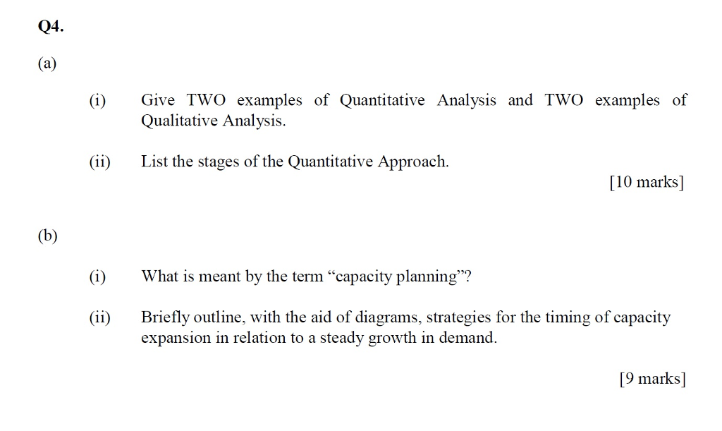 Solved Give Two Examples Of Quantitative Analysis And Two