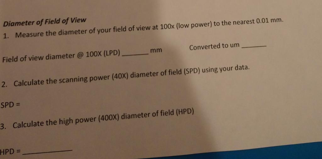 Solved: Diameter Of Field Of View 1  Measure The Diameter