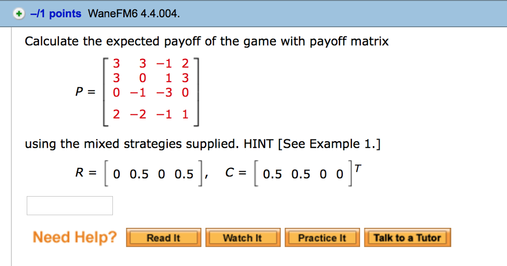 solved calculate the expected payoff of the game with pay