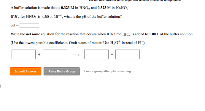 solved a buffer solution is made that is 0 323 m in hno2
