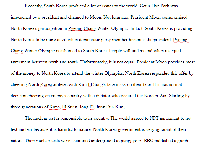Please Edit My Essay And Add Something To Make Bet  Cheggcom Please Edit My Essay And Add Something To Make Better My Research Essay Is  About A North Korea