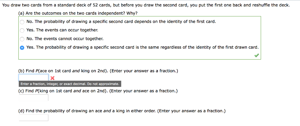 Solved: You Draw Two Cards From A Standard Deck Of 52 Card