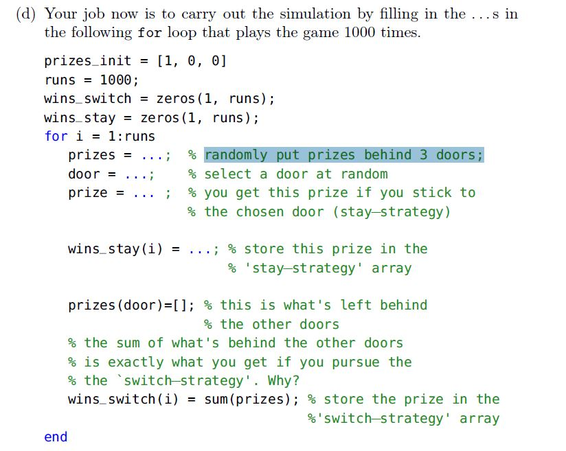 Solved: Please Use Matlab Help Me Do This  Fill In The Cod