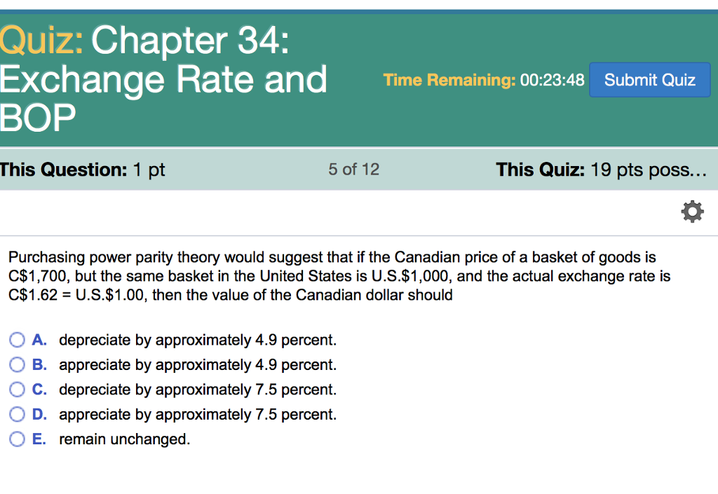 Quiz: Chapter 34: Exchange Rate And Time Remaining