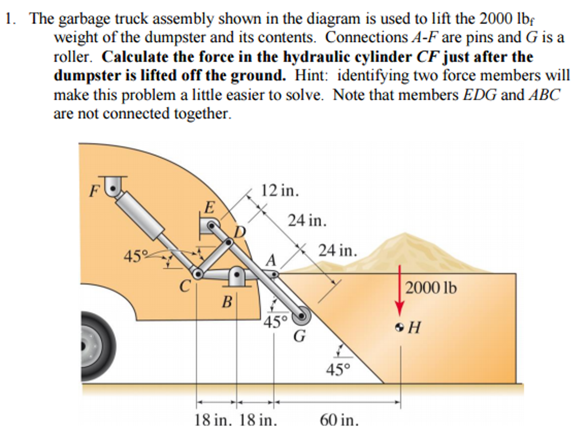 solved the garbage truck assembly shown in the diagram is Garbage Truck Mexico question the garbage truck assembly shown in the diagram is used to lift the 2000 lbf weight of the dumpst