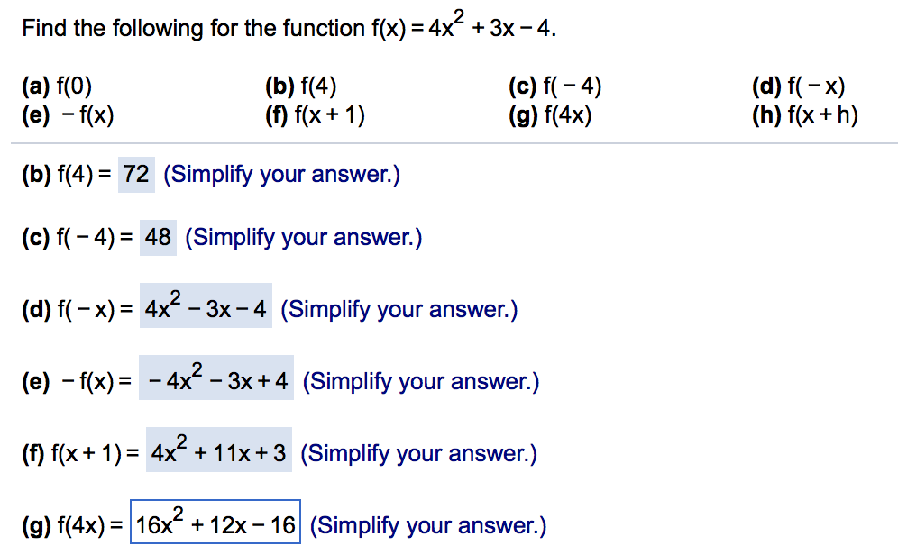 solved find the following for the function f x 4x 2 chegg com function f x 4x 2