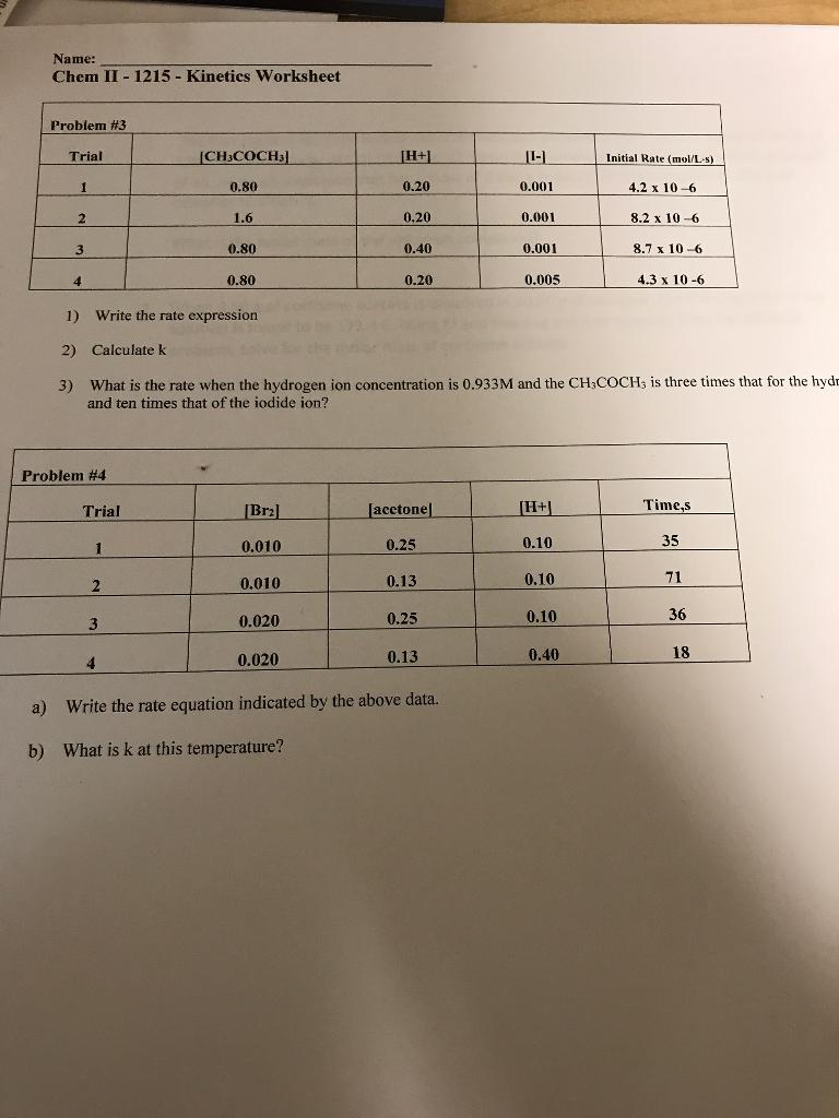 Solved: Name: Chem II 1215 Kinetics Worksheet Problem #3 C ...
