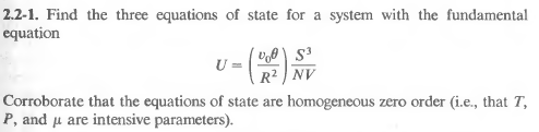 Find the three equation of state ofr a system with