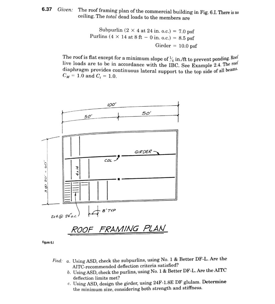 Solved: 6 37 Given: The Roof Framing Plan Of The Commercia