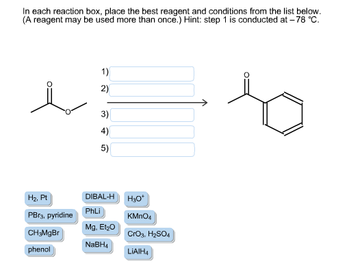 in each reaction box place the best reagent and conditions from the list below oh - photo #36