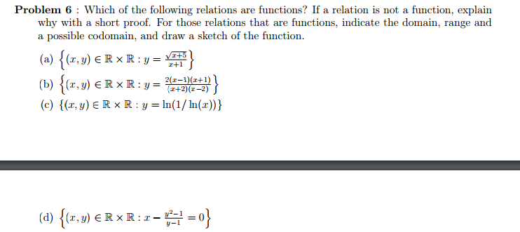 Solved: Which Of The Following Relations Are Functions? If
