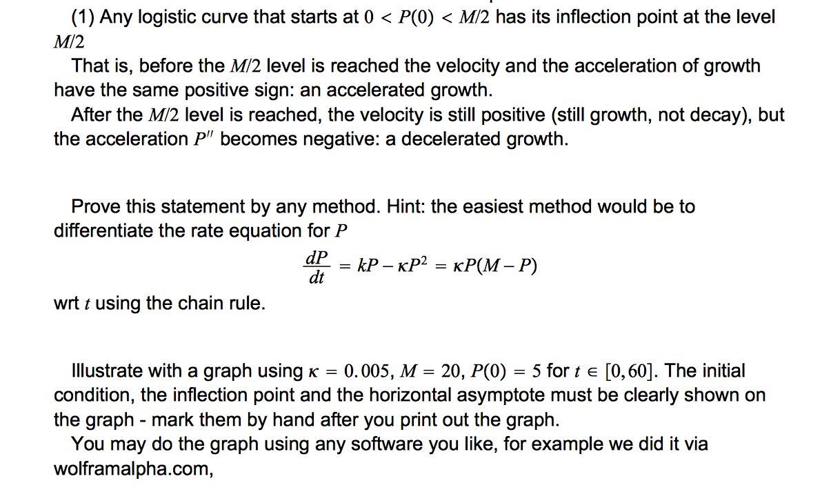 solved: any logistic curve that starts at 0 ? p?0? ? m/2 h