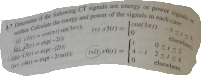 Determine if the following CT signails are energy