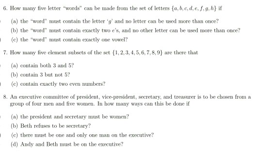 """solved: 6. how many five letter """"words can be made from th"""