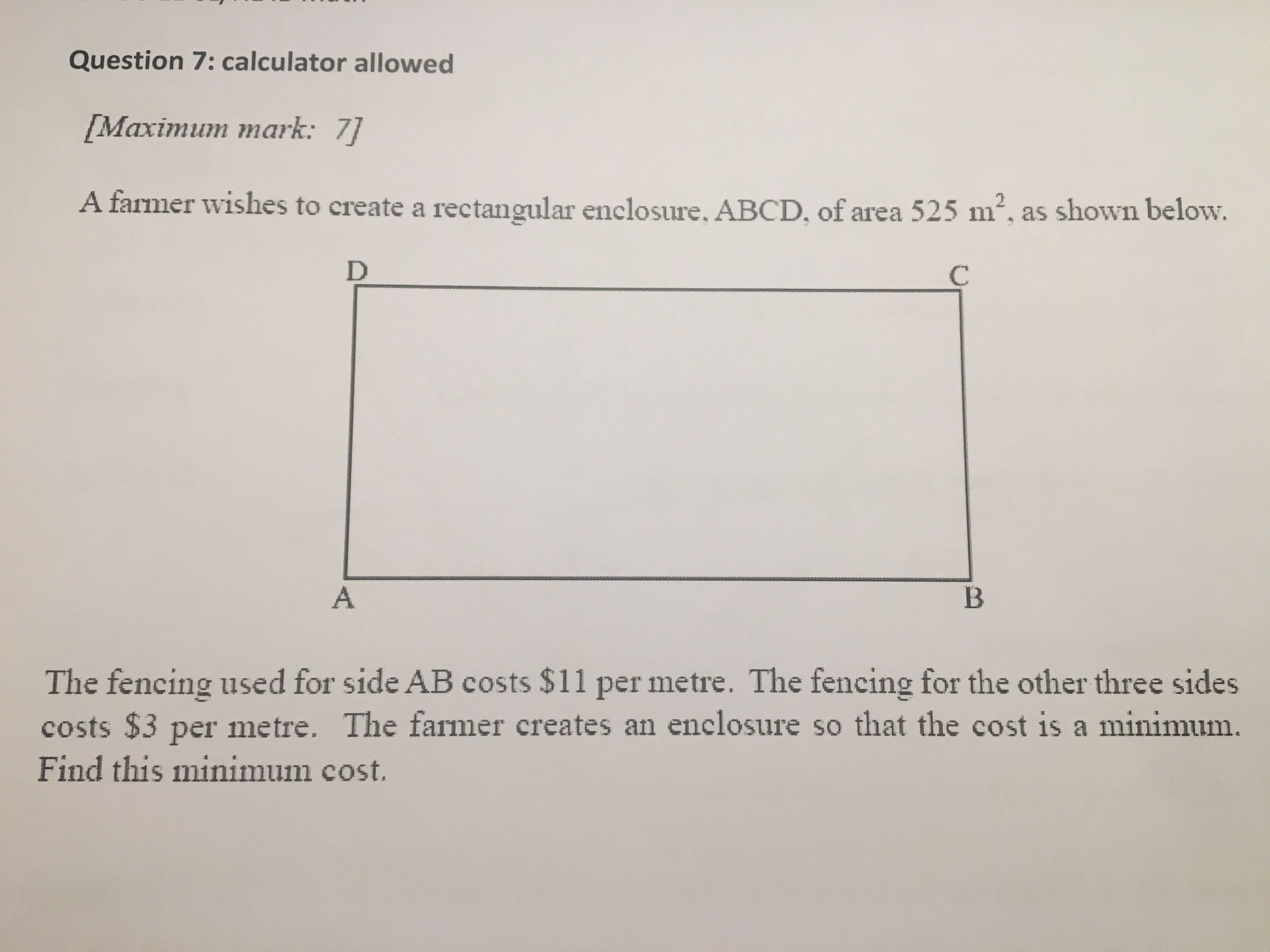 Solved: A Farmer Wishes To Create A Rectangular Enclosure