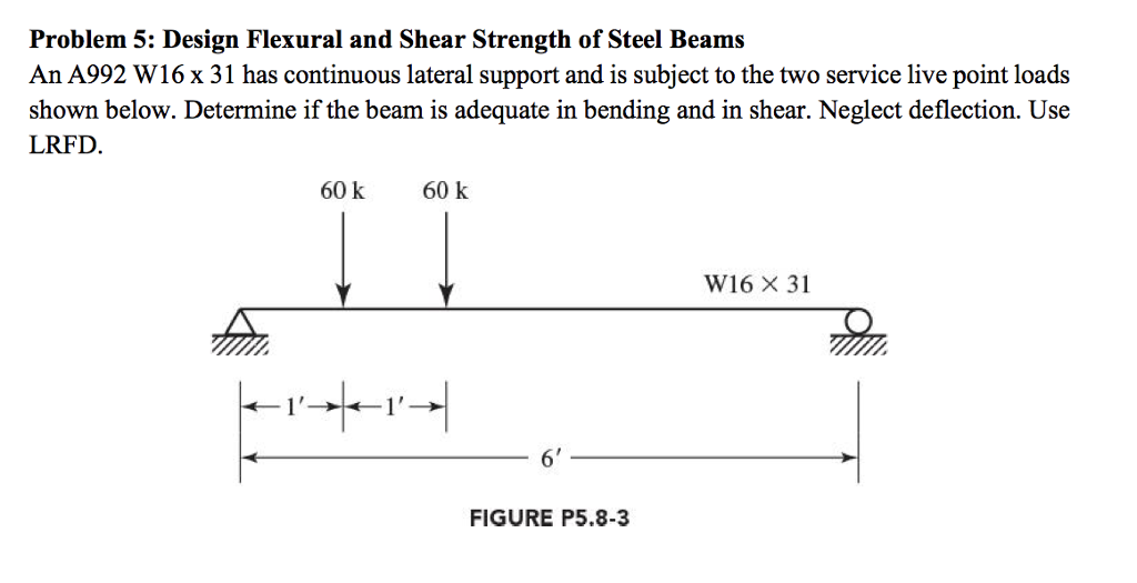 Solved: Problem 5: Design Flexural And Shear Strength Of S