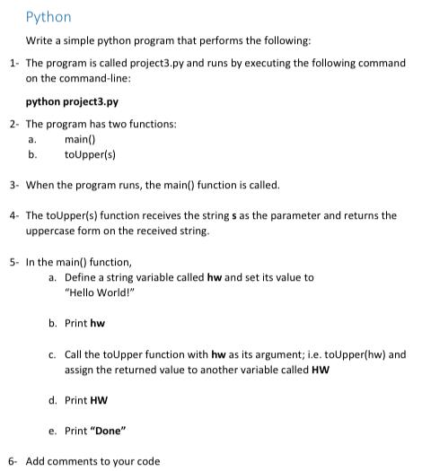 Solved: Python Write A Simple Python Program That Performs