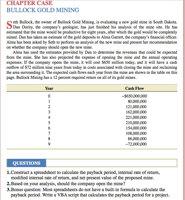 bullock gold mining mini case Mini case bullock gold mining 9 e touristhubcoin corporate finance ch6 mini case solution bethesda mining bethesda mining company mini case solution in excel.