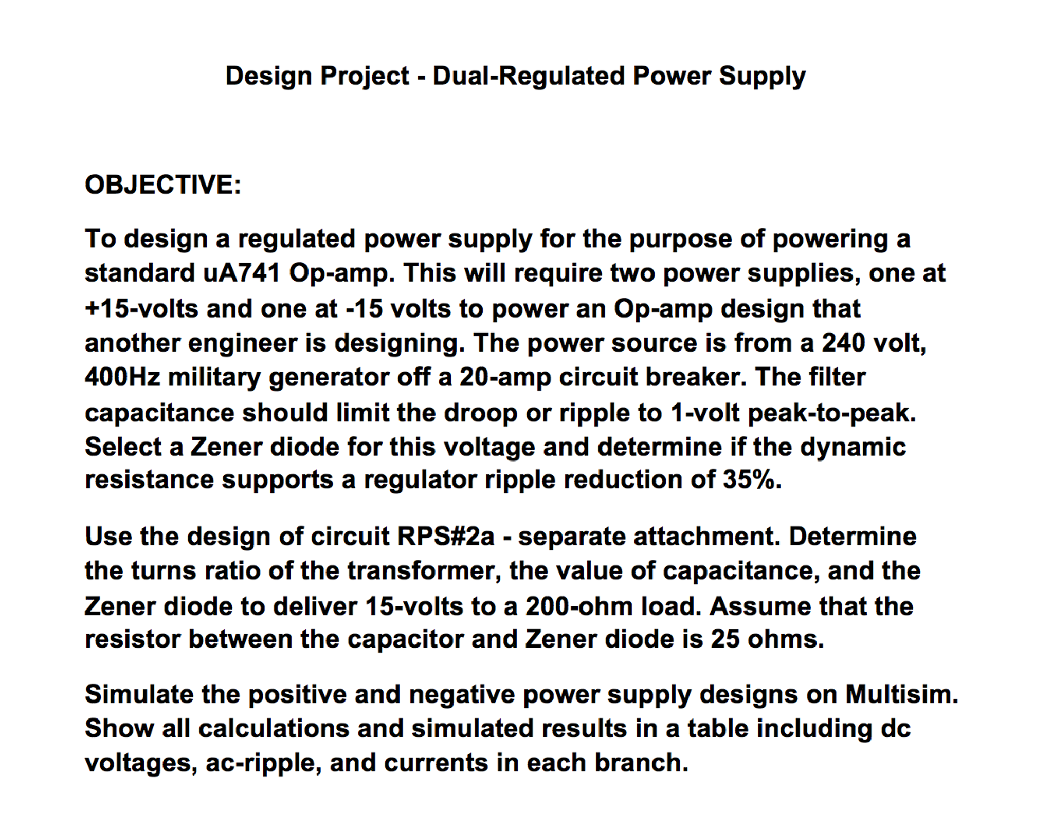 Design Project Dual Regulated Power Supply Objec Obje