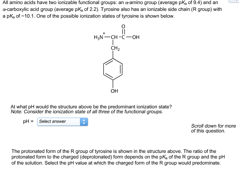 All amino acids have two ionizable functional groups: an α-amino group (average pKa of 9.4) and an a-carboxylic acid group (average pKa of 2.2). Tyrosine also has an ionizable side chain (R group) with a pKa of -10.1. One of the possible ionization states of tyrosine is shown below. H3N CH -C OH CH2 OH At what pH would the structure above be the predominant ionization state? Note: Consider the ionization state of all three of the functional groups. pHSelect answer Scroll down for more of this question. The protonated form of the R group of tyrosine is shown in the structure above. The ratio of the protonated form to the charged (deprotonated) form depends on the pKa of the R group and the pH of the solution. Select the pH value at which the charged form of the R group would predominate.