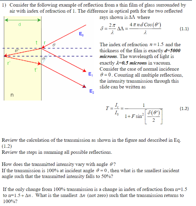 Solved 1 Consider The Following Example Of Reflection Fr
