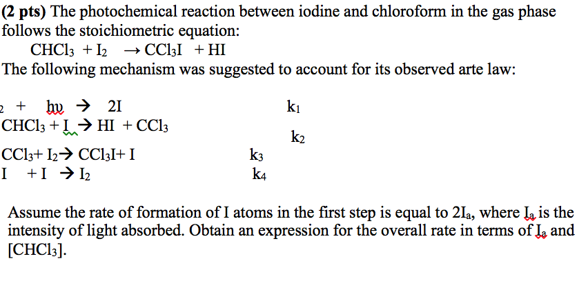 Solved The Photochemical Reaction Between Iodine And Chlo
