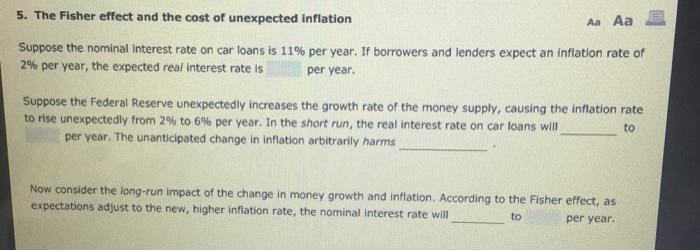 unanticipated inflation arbitrarily