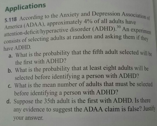 Solved: According To The Anxiety And Depression Associatio