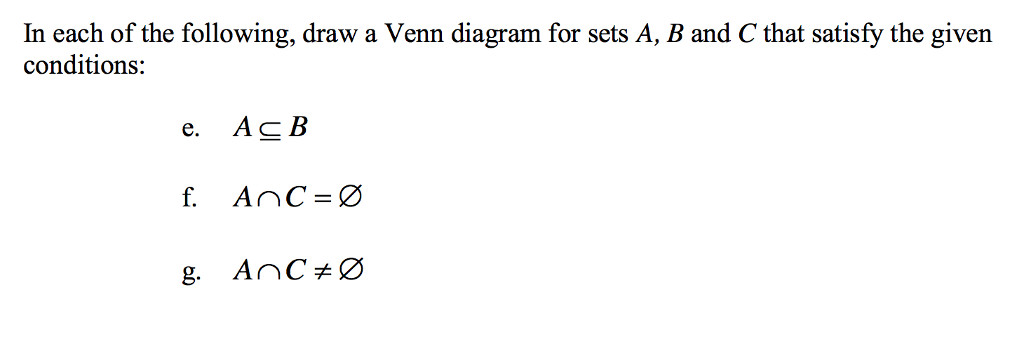 Solved In Each Of The Following Draw A Venn Diagram For