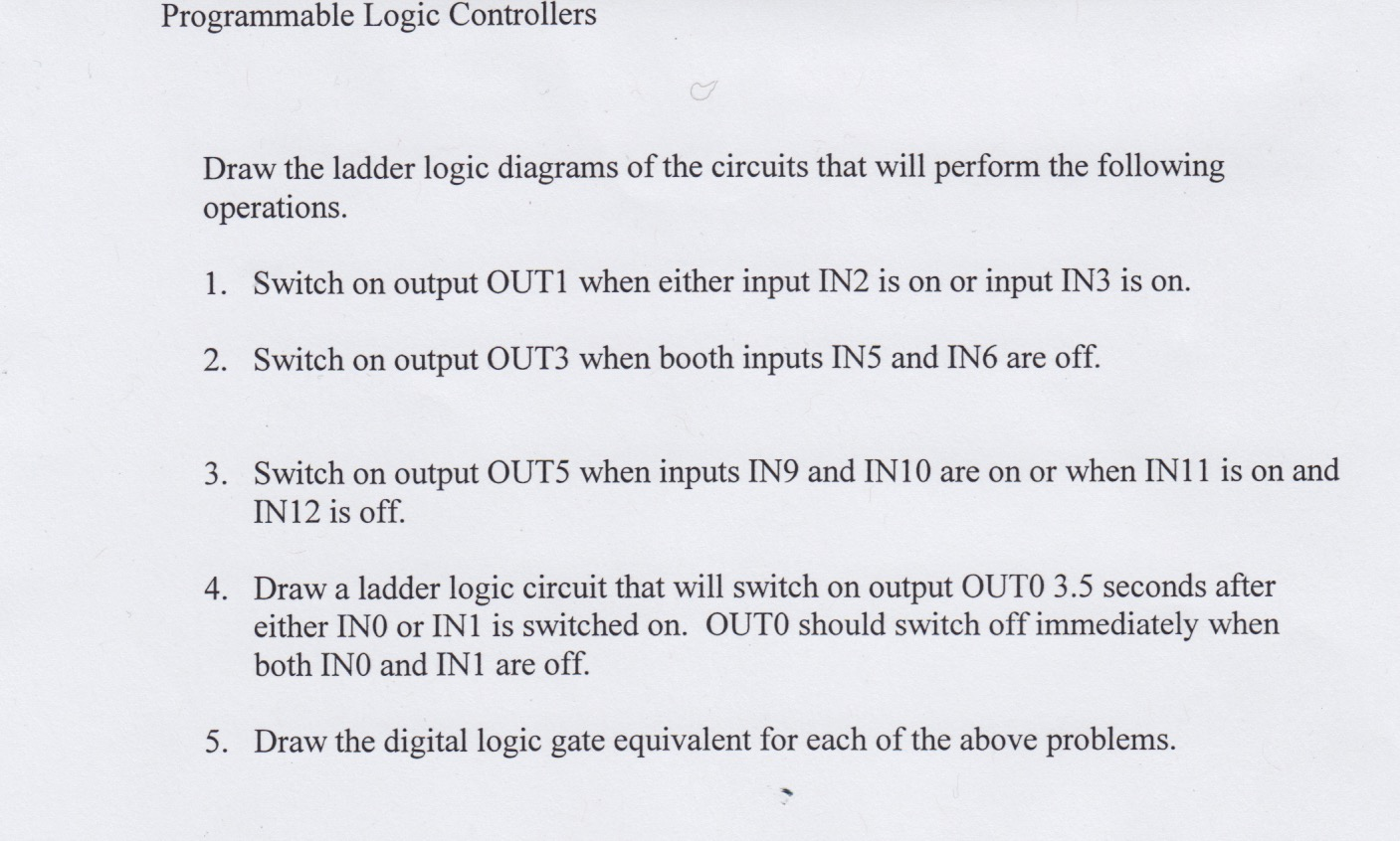 Solved Draw The Ladder Logic Diagrams Of Circuits Tha Circuit Diagram Using Gates