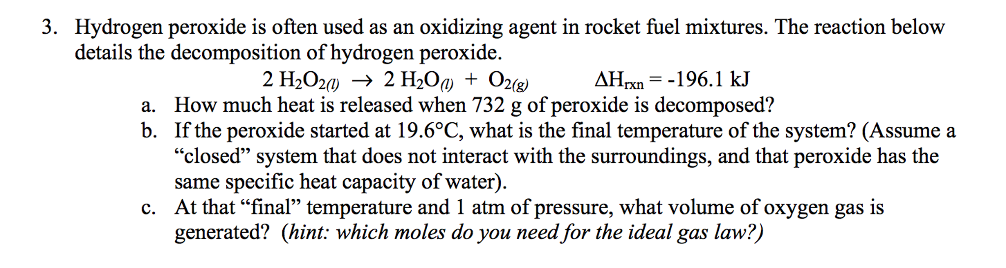 heat of decomposition of hydrogen peroxide