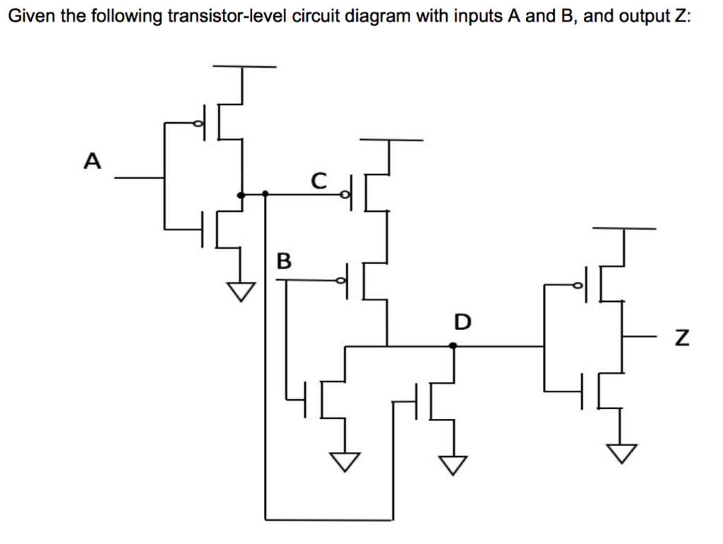 Given the following transistor-level circuit diagram with inputs A and B,  and output