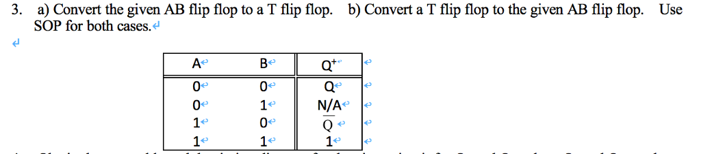 A Convert The Given AB Flip Flop To T SOP For