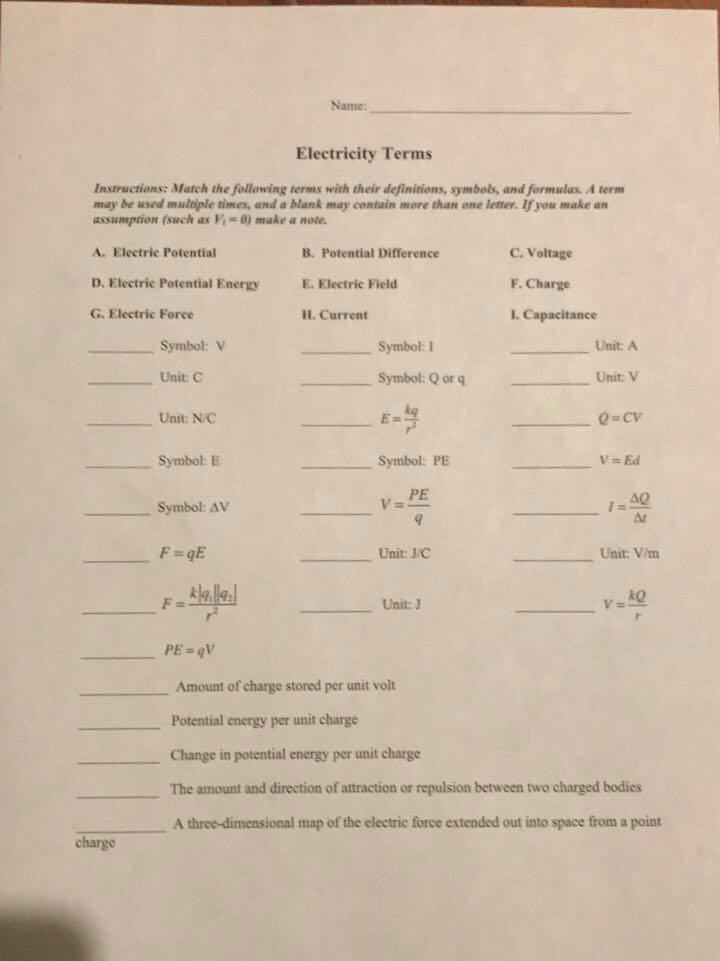 Solved Name Electricity Terms Instructions Match The Fo