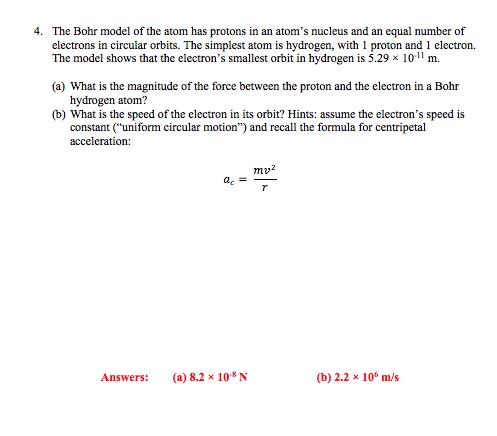 Homework help model of an atom