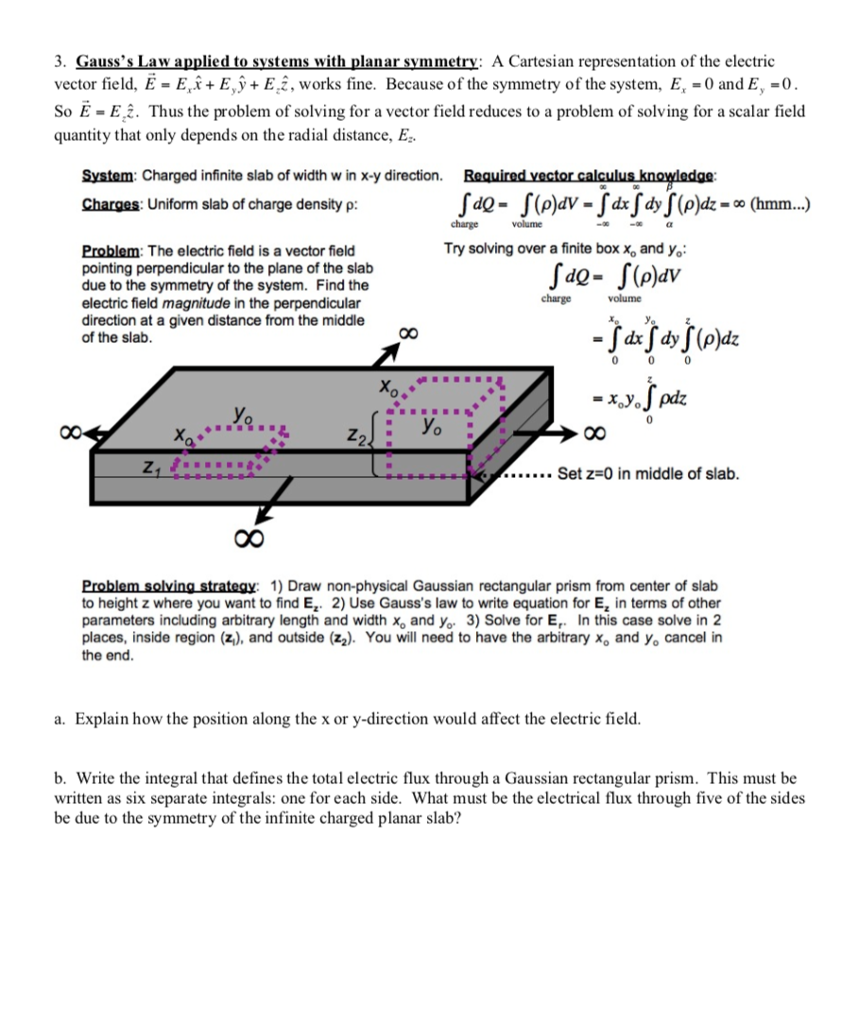 Solved: 3. Gauss\'s Law Applied To Systems With Planar Symm ...