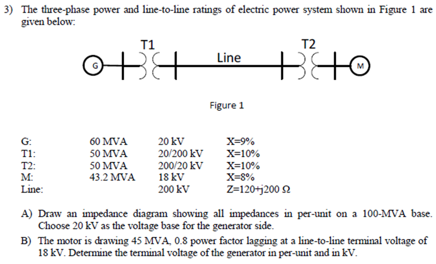 Solved The Three Phase Power And Line To Line Ratings Of