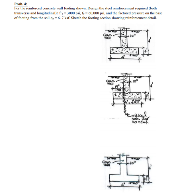 4: For The Reinforced Concrete Wall Footing Shown. Design The Steel  Reinforcement