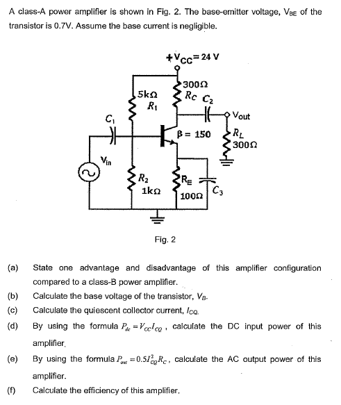 Solved: A Class-A Power Amplifier Is Shown In Fig  2  The