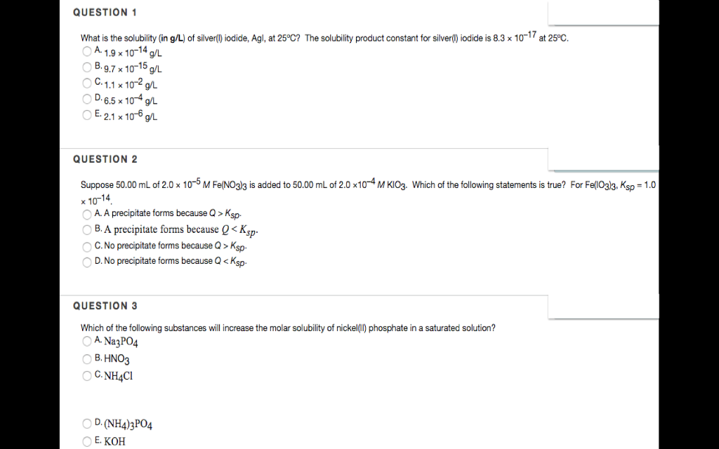 Solved What Is The Solubility In Gl Of Silverl Iodid