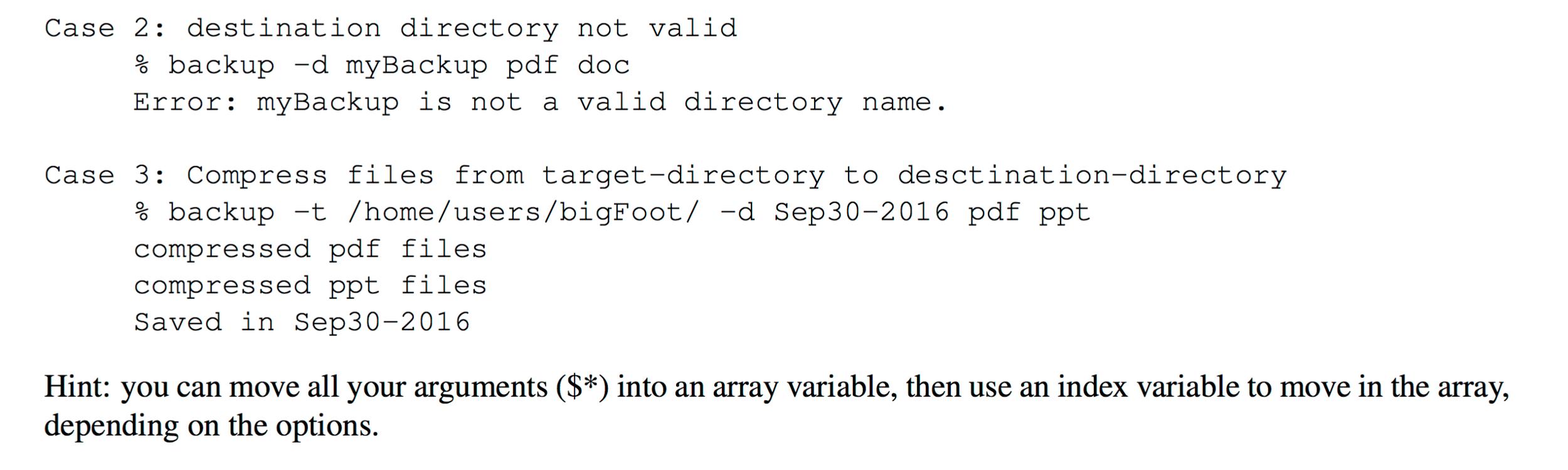 list backup files
