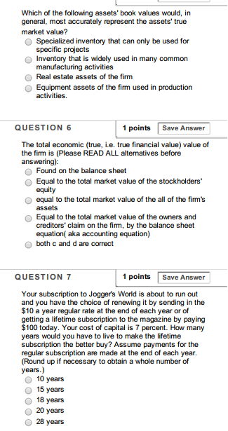 True Market Value >> Solved Which Of The Following Assets Book Values Would