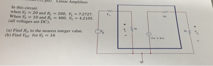 In this circuit: when V_s = 20 and R_L = 200, V_L=